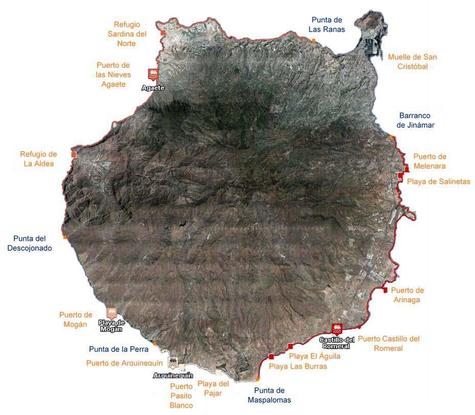 Mapa con los límites territoriales de cofradías de pescadores y puntos de desembarque